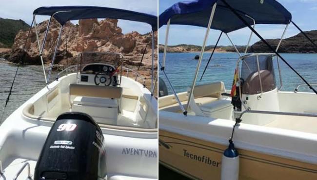 Barco Aventura - Tu barco en Menorca - toldo